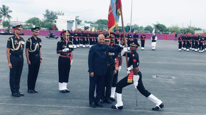 President of India Awards Colours to Corps of Army Air Defence