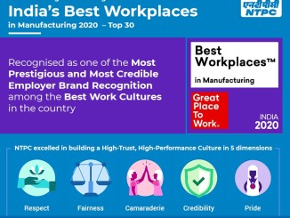 NTPC is recognised among India's Best Workplaces in Manufacturing 2020-Top 30