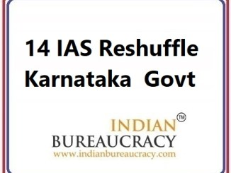14 IAS Transfer in Karnataka Govt