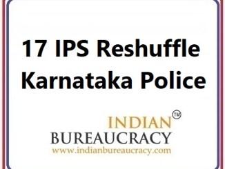 17 IPS Reshuffle in KarnatakaPolice