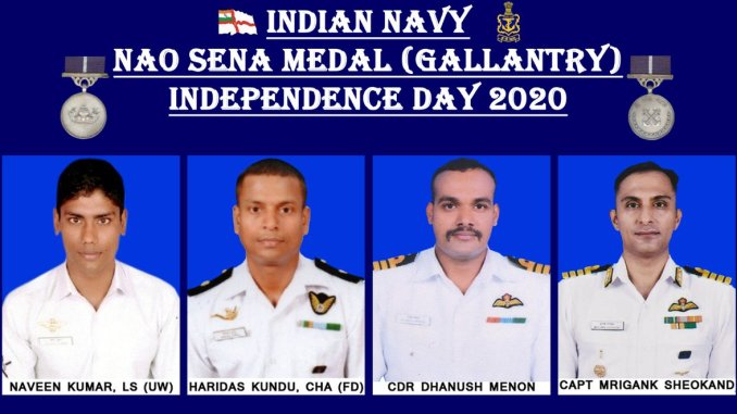 Gallantry Medals to Naval Personnel on INDEPENDENCE DAY 2020