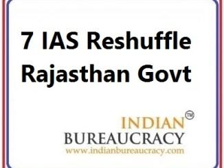 7 IAS Transfer in Rajasthan Govt