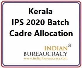 Kerala IPS 2020 Batch Cadre Allocation