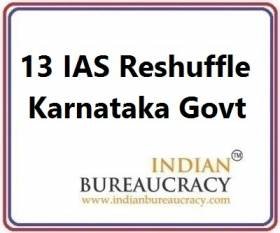 13 IAS Transfer in Karnataka Govt