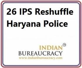 26 IPS Transfer in Haryana Police