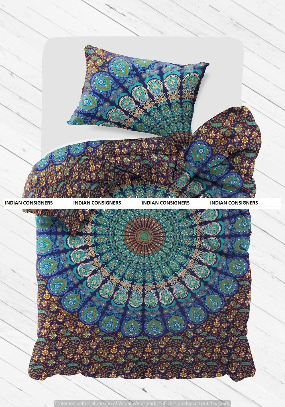 peacock mandala bed cover with matching pillow case indian cotton bedding set