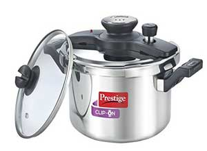 Prestige Clip On Stainless Steel Pressure Cooker with Glass Lid