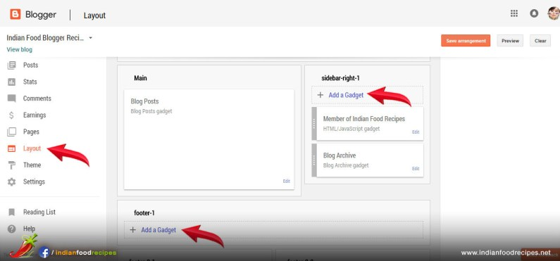 "Step 21 - To Insert ""Adsense Code"" in your food blog. Click on Layout. Then Click on ""Add Gadget""."