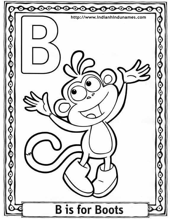 Cartoons, alphabets, coloring sheets, coloring pages, Dora