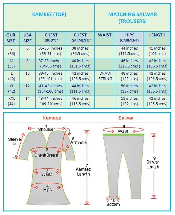 Size chart choose also salwar kameez buy suits online for women girls rh indianmarketplace