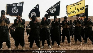 Danger lurks- ISIS fighters with their flag