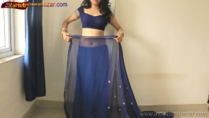 Indian Desi Housewife hot stripping Blue Saree Full Nude Full HD Porn Sexy Navel Gand Choot boobs00001