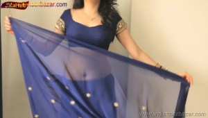 Indian Desi Housewife hot stripping Blue Saree Full Nude Full HD Porn Sexy Navel Gand Choot boobs00008