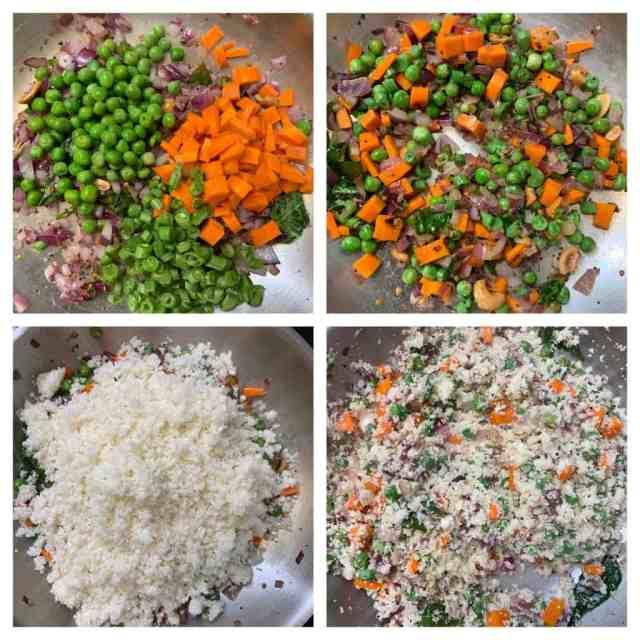 step to cook veggies and cauliflower rice collage