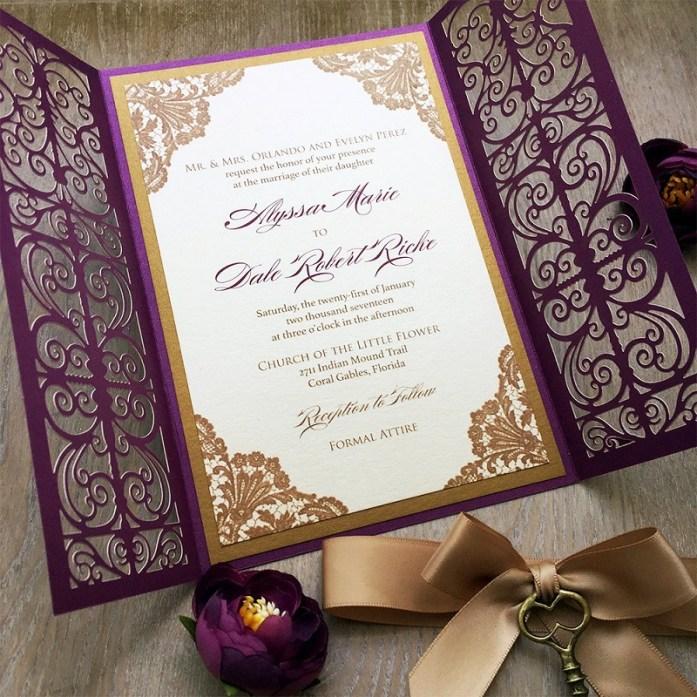 letterpress laser cut wedding invitations