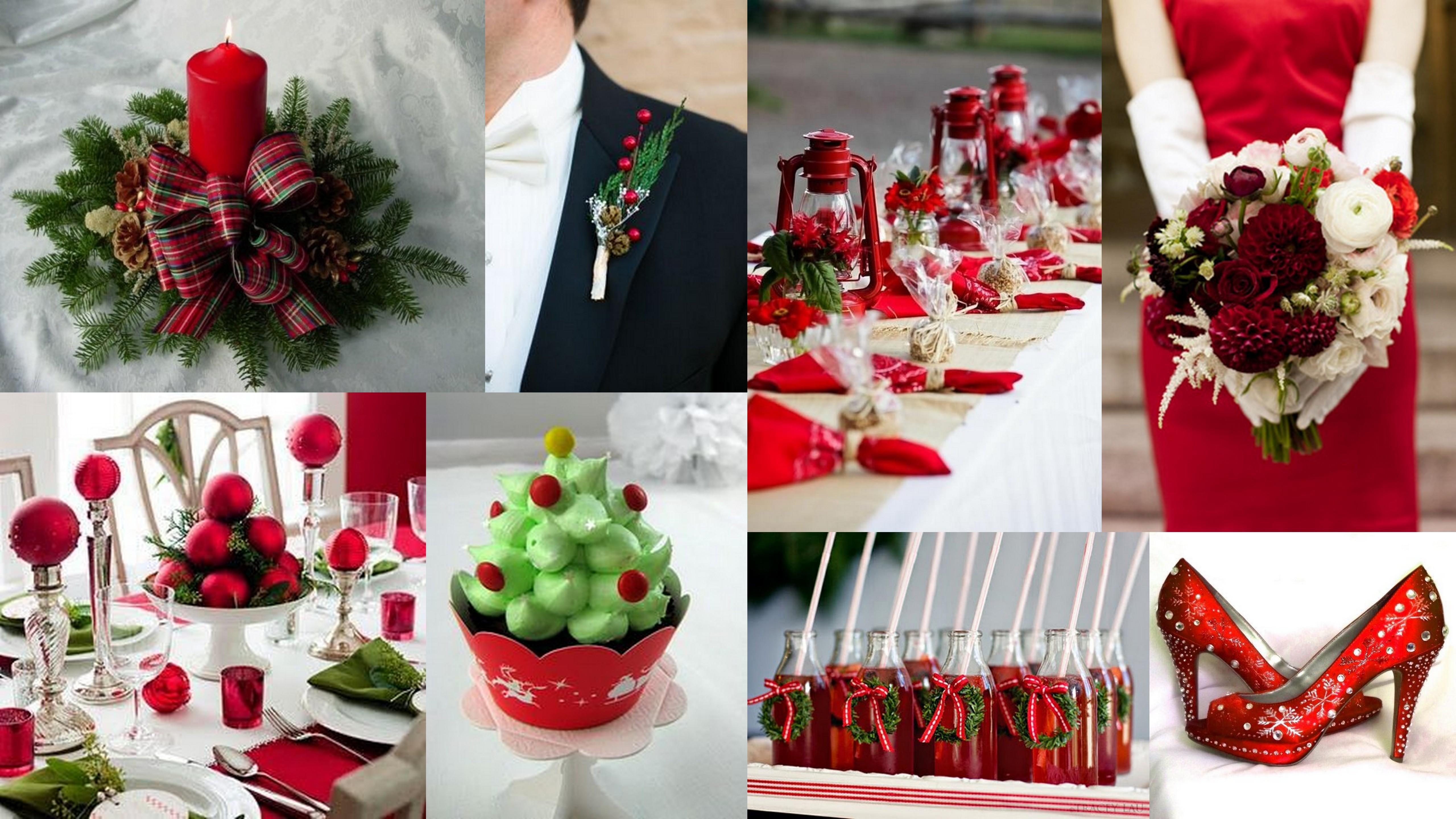 Christmas Inspired Red Green Theme Wedding Wedding Invitations