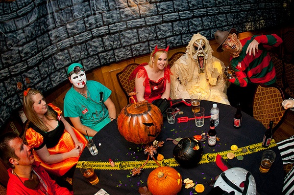 Halloween wedding party