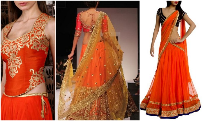 Bright Orange Lehengas - IndianWeddingCards