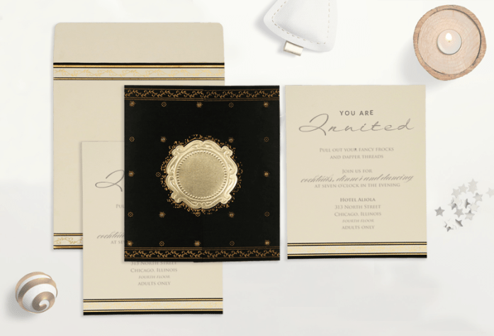 Black muslim wedding cards-CD-8202K