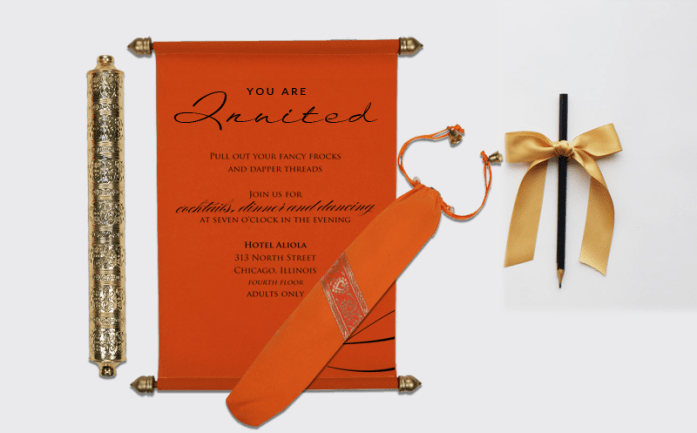 Orange muslim wedding cards-CSC-5005G