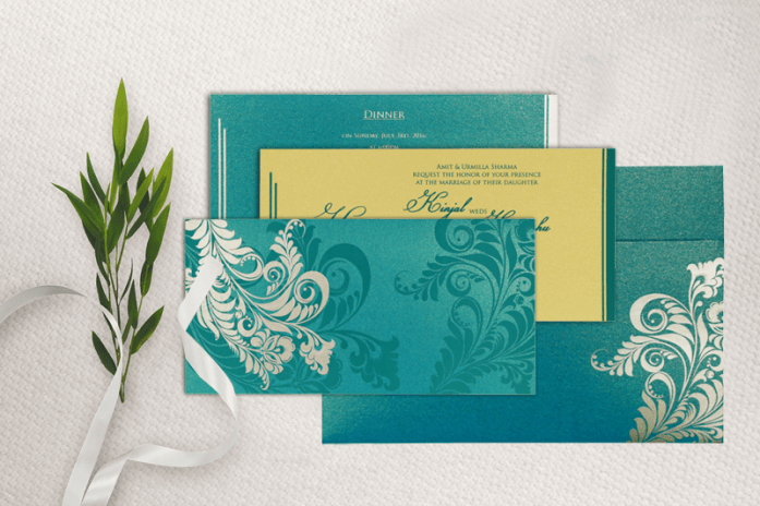 Turquoise muslim wedding cards-CIN-8259B