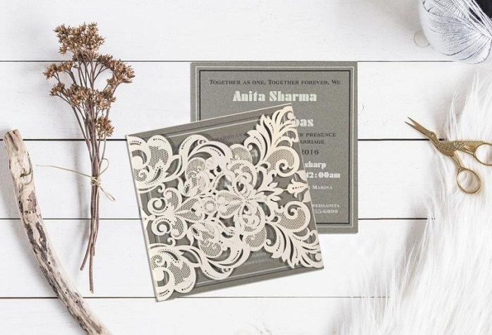 Laser cut wedding invitations-IndianWeddingCards