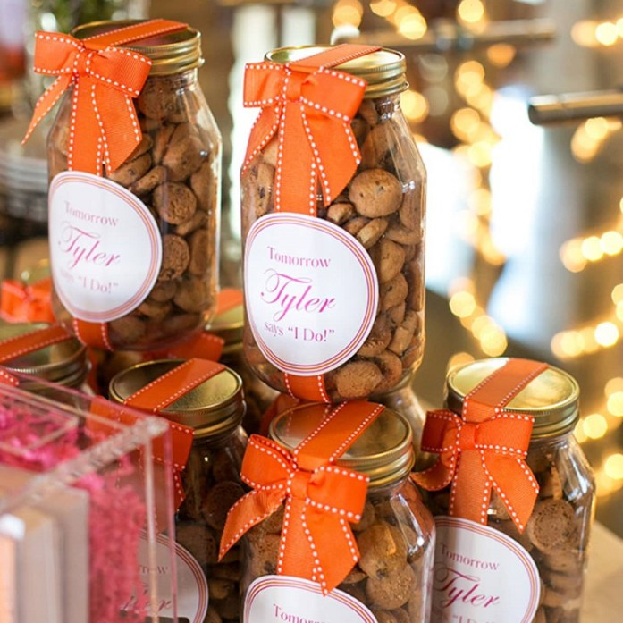 Mason jars filled with cookies-IndianWeddingCards