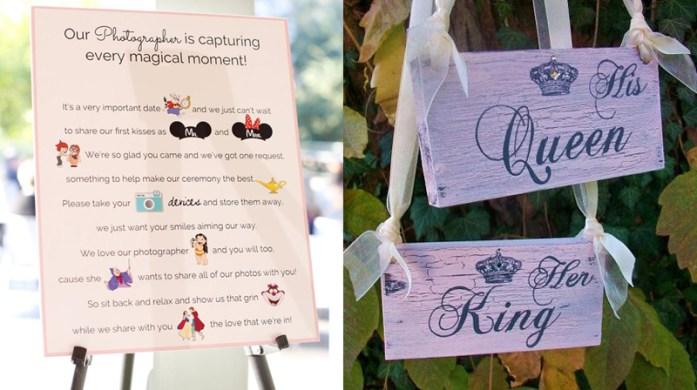 Disney inspired sign board- Disney wedding inspirations