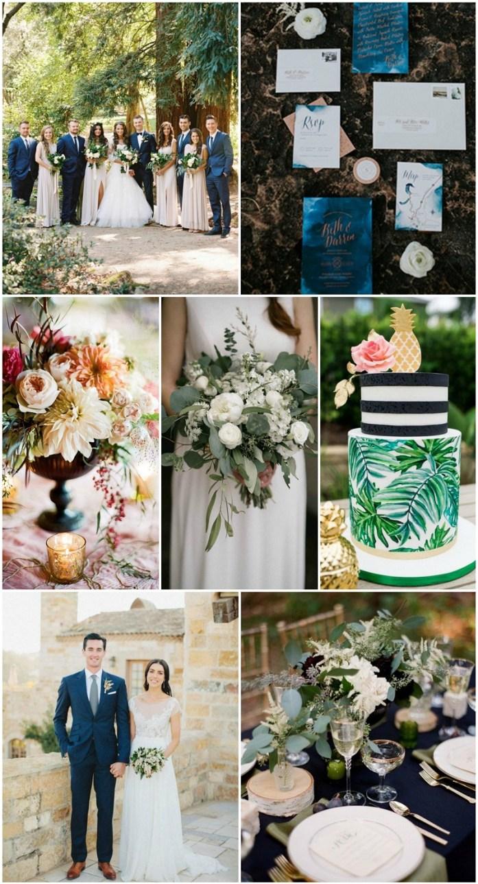 Copper, ivory, midnight blue and sage green wedding pallete