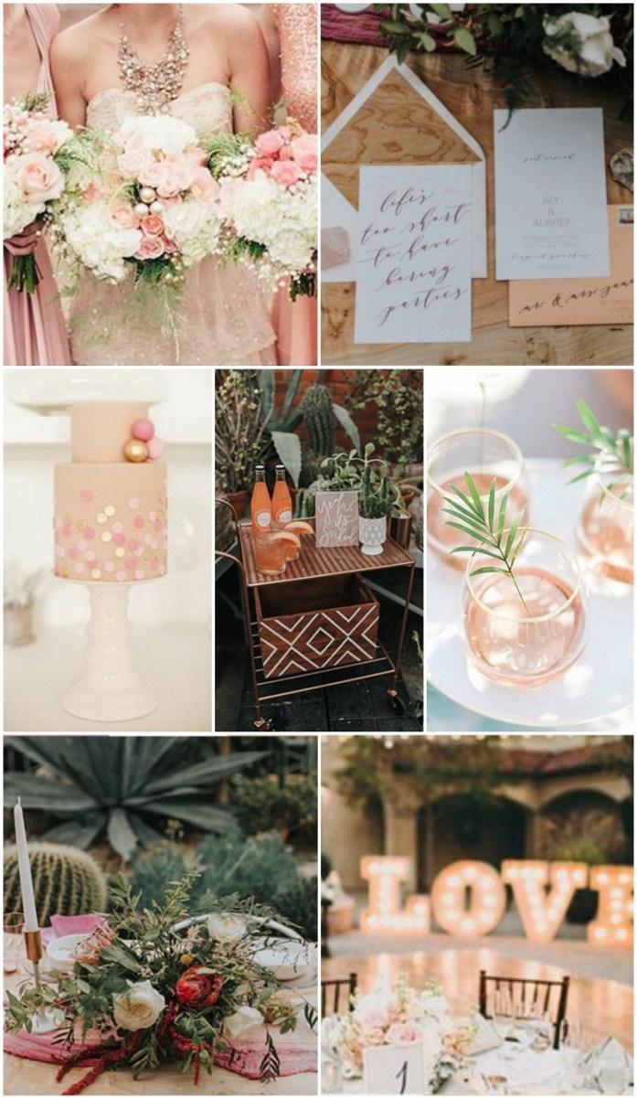 Flamingo pink, rose gold, sage green and white wedding pallete