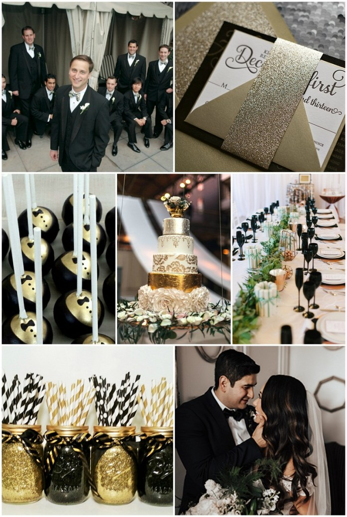 White, gold, pewter, black and silver wedding pallete