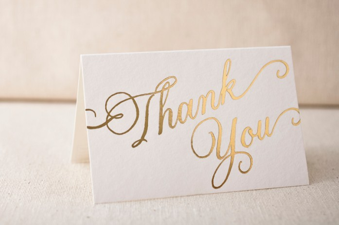 foil stamped thank-you notes