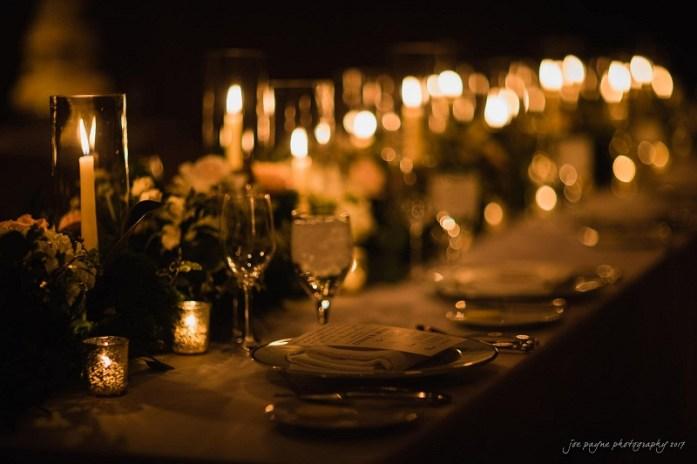 Elegant Amber candles in fall wedding