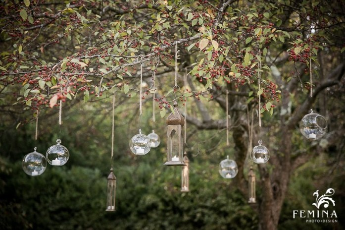 fall wedding hanging lanterns and strings
