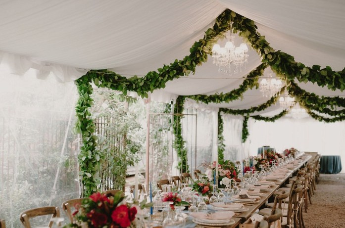 Floral drapped ceiling decor
