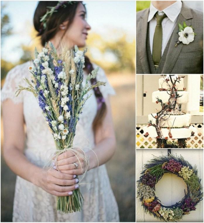 dried herb fall wedding