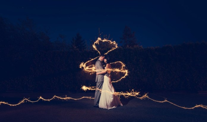 wedding portraits magical with sparklers 11
