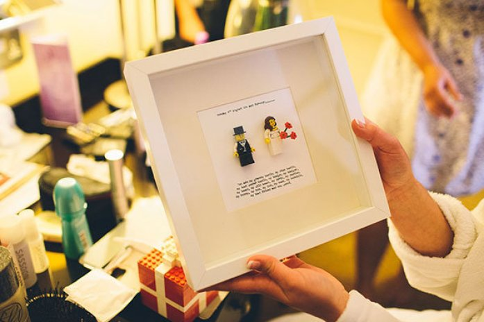 Lego shadow box frame with a sweet poem