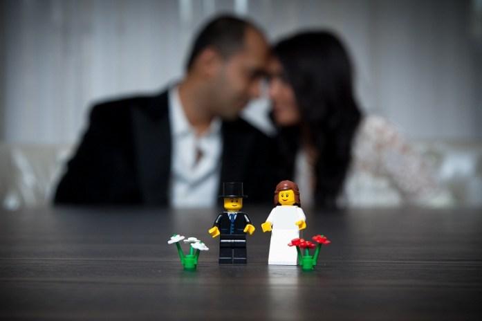 Wedding photoshoot with lego prop