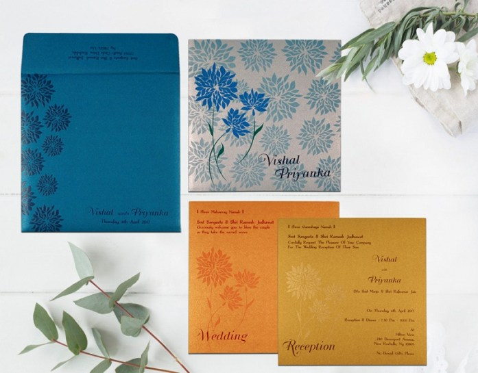 BLUE SHIMMERY FLORAL THEMED INVITE CD-1760