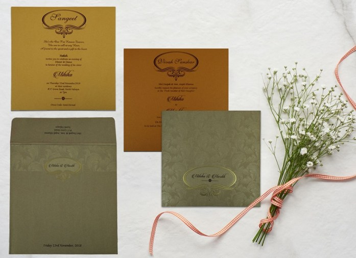 KHAKI SHIMMERY WEDDING INVITATION CD-1816