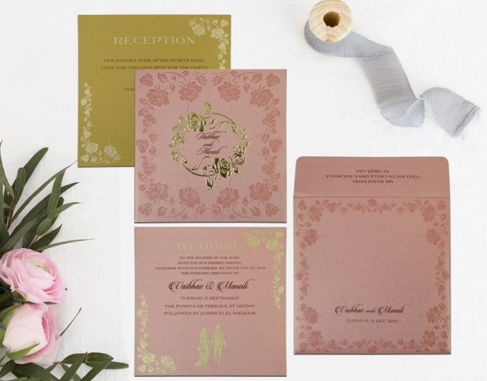 PINK SHIMMERY FLORAL THEMED INVITATION CD-1787