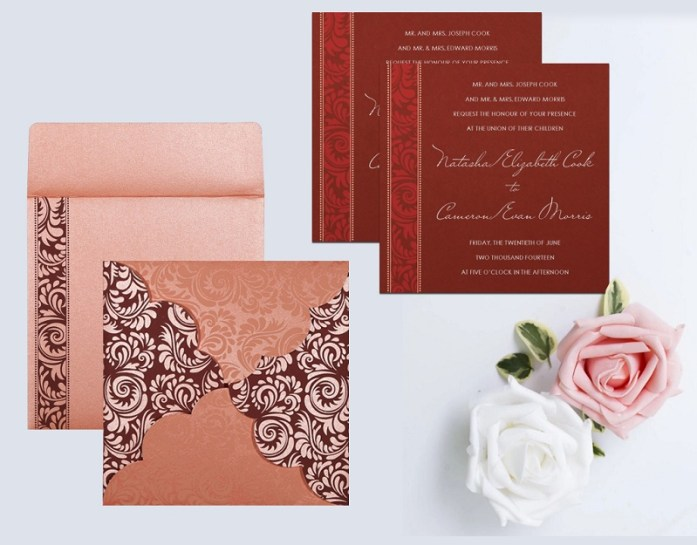 PINK SHIMMERY FLORAL THEMED INVITE CD-8235D