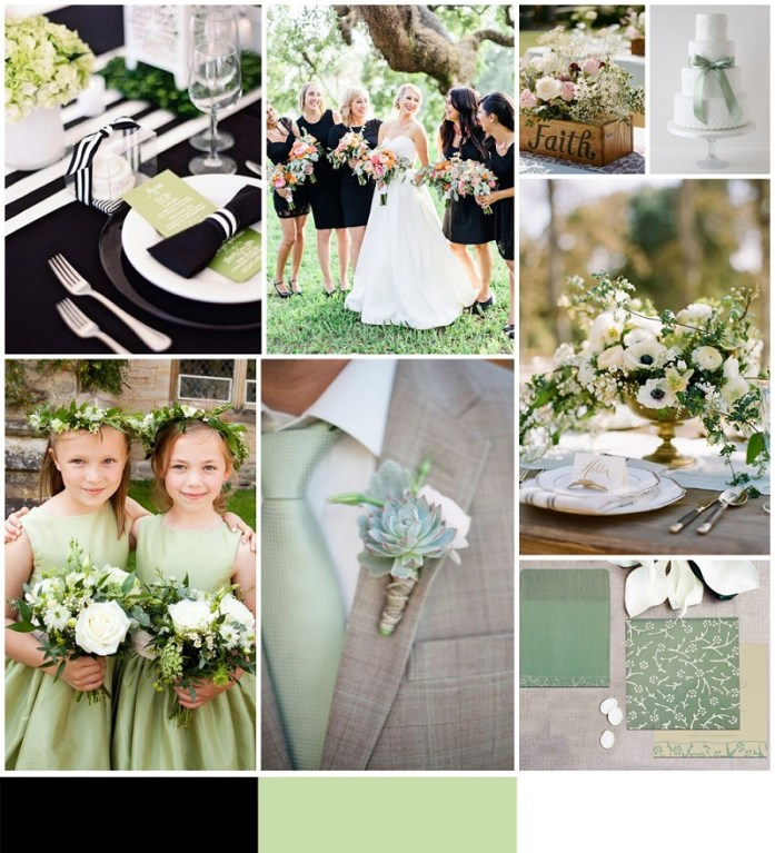 Black, Pale green and white