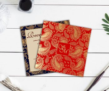 Paisley Pattern Wedding Invitations - IndianWeddingCards