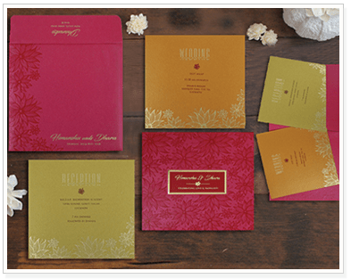 HOT PINK SHIMMERY FLORAL THEMED FOIL STAMPED WEDDING INVITATION : CIN-1783-IndianWeddingCards