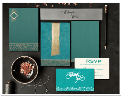 TEAL BLUE MATTE BOX THEMED - EMBOSSED WEDDING INVITATION-IndianWeddingCards