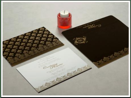 BROWN MATTE SCREEN PRINTED WEDDING INVITATION  CIN-809E-IndianWeddingCards