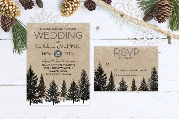 Christmas Wedding Theme Invitations