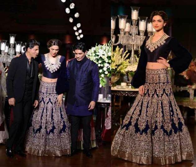 Deepika Padukone's Navy Blue Bridal Lehenga by Manish